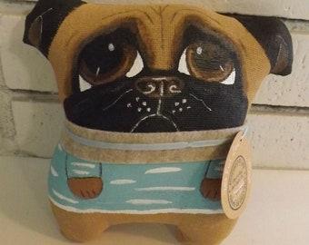 Dog Doll,Pug,Primitive Art Doll,Cushion Doll,Softie,Art Doll,Shabby Chic,Folk Art Doll,Folk Art Doll,Ornie,Whimsical,Cloth Doll