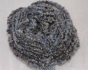 Hand Spun Elastic Yarn Kid Mohair Gray Blue 18-5