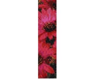 Peyote Bracelet Pattern Pink Sun Flowers