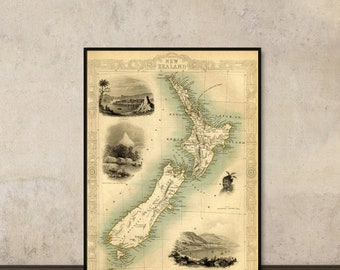 Antique New Zealand  map Print - Fine print - Old map reproduction