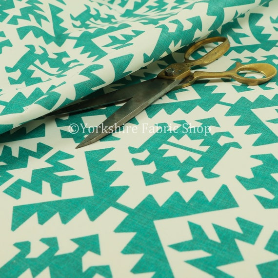 Tapicería de patrón geométrico Teal azul terciopelo impreso moderno ...