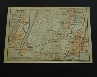 Haarlem map poster etsy haarlem old map of haarlem holland 1904 antique print zandvoort bloemendaal netherlands city plan small vintage gumiabroncs Choice Image