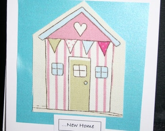 Handmade New Home card with a cotton beach hut