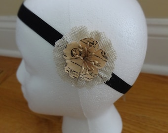 Shabby Chic Burlap Accent Headband