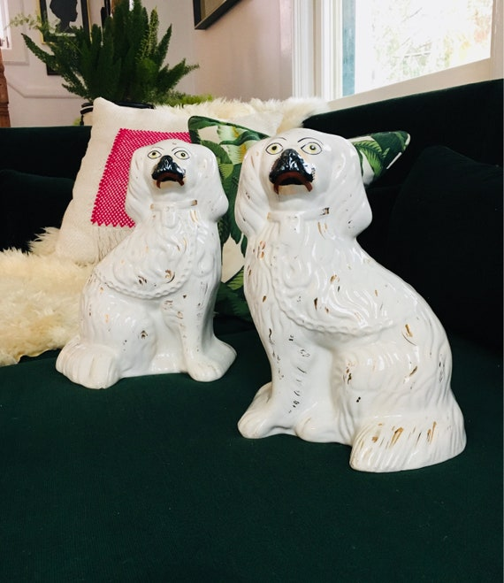 Rare Pair of 1920s White Staffordshire with Black Muzzle - Porcelain King Charles Spaniel Dogs - Vintage / Antique Staffordshire Dogs