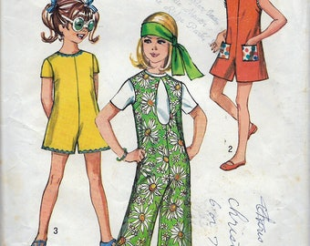 """Vintage 1970 Simplicity 8770 Retro Girl's Pandress & Pantjumper With Three Necklines Sewing Pattern Size 12 Breast 30"""""""