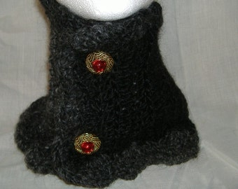 Black Mohair Mini Scarf, Woolen Collar, NeckScarf, Gray, Victorian, Cowl, Scarflette, OOAK, Unique Gift, Womans, Trending, Birthday, New