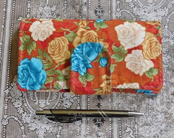 Floral Checkbook Wallet in Rust Teal Cream - Checkbook Cover - Coupon Case - Cash Wallet - Fabric Wallet