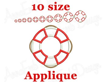Lifesaver Applique Embroidery Design. Lifesaver mini. Nautical embroidery. Lifering.  Lifebuoy. Life Preserver Ring. Machine Embroidery.