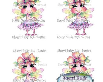 INSTANT DOWNLOAD 3D deco Printable 3D  Octdeco17 Besties Big Head Dolls Digi By Sherri Baldy