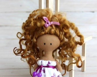 Rag doll in pajamas,doll with dark skin, Doll in white pajamas, textile doll, gift for Christmas, gift for girls