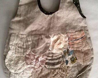 Linen bag,  Art bag, Handmade bag, unique bag, Large Hobo Bag, Shoulder Bag, Casual Bag, Beach Bag, Weekender, Laptop Bag