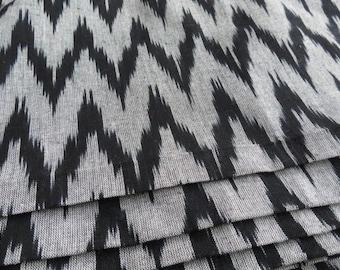 Grey and Black Ikat Fabric