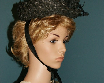 Antique 1870's 1880's Victorian Black Straw Feather Flower Hat Bonnet