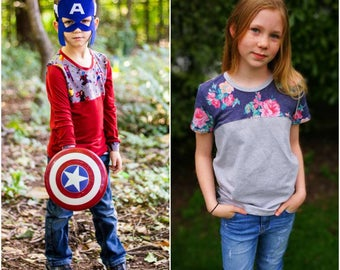 Collage Collective Tee PDF pattern & tutorial - sizes NB- 12 yrs - Boy or Girl - By LittleKiwisCloset