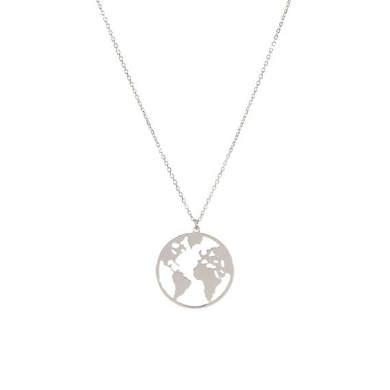 World map necklace globetrotter necklace gold map necklace like this item gumiabroncs Choice Image