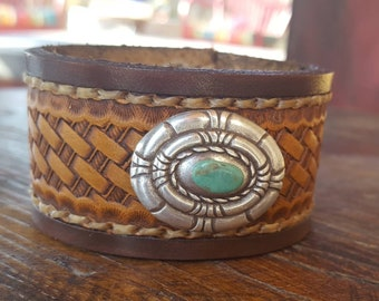 Leather Cuff Bracelet - Turquoise - Tooled - Southwestern- Concho - Cowgirl Jewelry - Western -Rustic Cuff by Heart of a Cowgirl