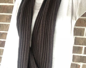 Ribbed long infinity scarf