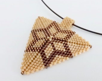 Peyote Star Triangle Pendant /  Beaded Pendant in Brown Matte  and Terracotta / Seed Bead Pendant / Peyote Triangle /  Geometric Pendant