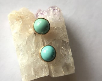 turquoise earrings solid 14k yellow rose gold, genuine natural american turquoise studs, minimal, december birthstone, turquoise jewelry