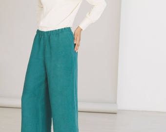 Forest green wide-leg hemp pants - Eco friendly womens clothing