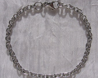 Bracelet 19cm steel chain link 4mm non allergic hook stainless * IN1