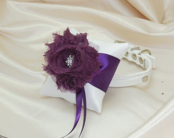 Dog Ring Bearer Pillow Rhinestone Collar in Plum Purple