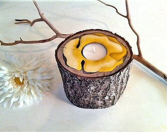 Yellow Epoxy Wood tree branch candle - Yellow wood candle - Flower  candle -  Artwork - Home and living - Accessory - Candleholder