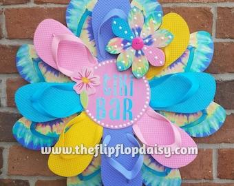 "Beautiful Tie Dye ""Tiki Bar"" Flip Flop Wreath Door Wall Decor Unique Gift So Adorable Hippie"