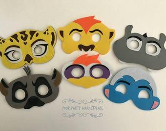 SET OF 6 Lion Guard Party Mask, Lion Guard Party Favors, Lion Guard Birthday, Lion Guard Kion, Lion Guard Party Banner, Lion Guard Party