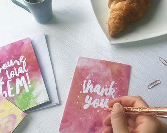Thank you card pack - pack of six, thank you notes, wedding thank you, thank you card bridesmaid, thank you set, cards bulk, recycled cards