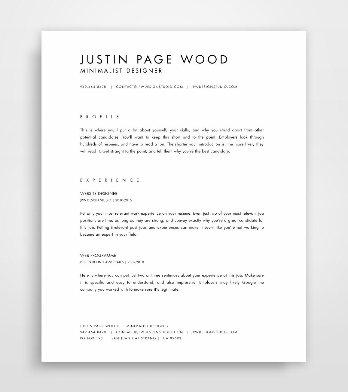 🔎zoom  Minimalist Resume Template