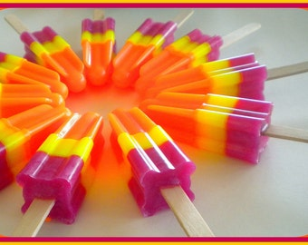 SALE - Popsicle Soap - Soapsicle - Pomegranate Mango Papaya - Soap Popsicle - Free U.S. Shipping - Food Soap - Party Favors - Soap for Kids