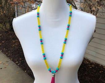 Bright Beaded Tassel Necklace, Tassel Necklace, Pink Bead Necklace, Pink Tassel Necklace, Yellow Bead Necklace, Long Necklace, Jewelry, Boho