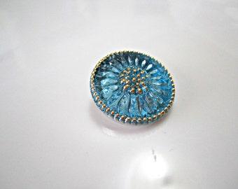 Green Aqua Daisy Czech Buttons Turquoise Czech Glass Handmade Buttons Blue Daisy Czech Glass Buttons 18mm (1 pc) 55BV3