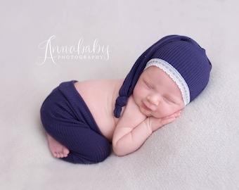 Newborn Girl Pants Hat Set, Newborn Sleepy Hat, Photography Props, Newborn Girl Outfit, Newborn Knot Hat, Long Tail Hat, Indigo Lace