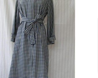 Vintage 1980's Blue and White Checkered Raincoat by Laura Biagiotti