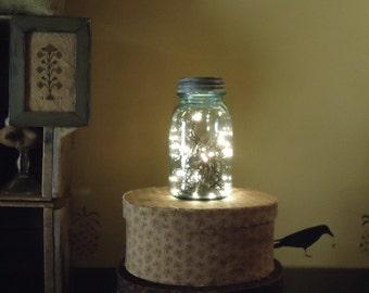 vintage Christmas decor, Mason Jar light, Country Primitive mason jar lantern, Farmhouse kitchen, rustic night light