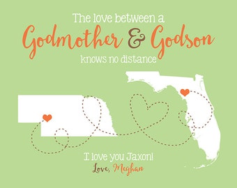 Gift for Godson, Goddaughter, Godmother, Godparents - Personalized Birthday Gift, Canvas Art, Wall Sign, House Art for Aunt, Son, Family