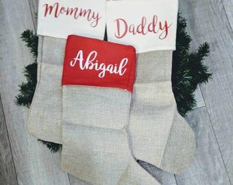 Personalized stocking, Classic Stocking, Red Stocking, White Stocking, stockings, Christmas, matching family stockings, burlap stockings.