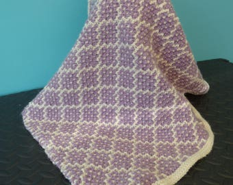 Alpaca - Purple & White  Pram and Cot Blanket - Hand Made in Wales
