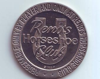 UNC Reno's Horsheshoe Club  Nevada  Casino Dollar Gaming Token  1965