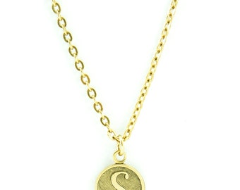 Letter S Necklace | Gold Letter S Necklace | Gold Initial S Necklace | Gold Letter S Pendant Necklace