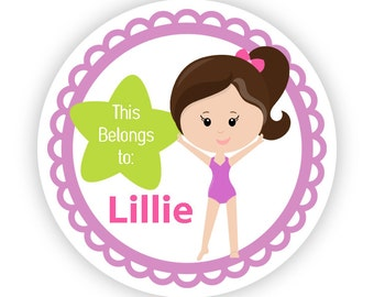 Kids Stickers Name Labels - Purple Gymnast, Cute Gym Labels, Girl Gymnastic Personalized Name Label Stickers - Back to School Name Labels