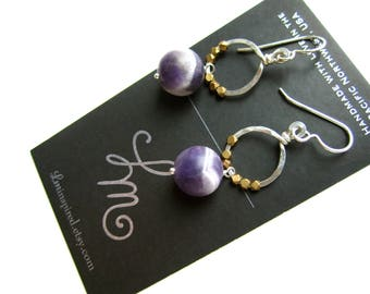 Chevron Amethyst Drops Brass Trade Beads Petite Hammered Hoop Sterling Silver Earrings by LM-inspired