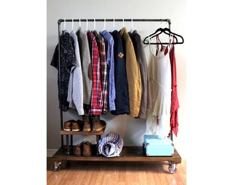 Clothing Rack With Stand, Garment Rack, Clothes Rack, Industrial, Rack,  Furniture