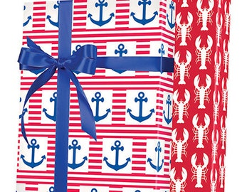 Red White Blue Nautical Anchor Gift Wrap Wrapping Paper 15ft Roll