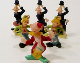 Six Mid Century Vintage Plastic Clown Cake Topper Decorations