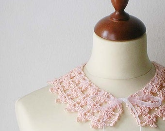 Hand Crocheted Pink Collar Necklace