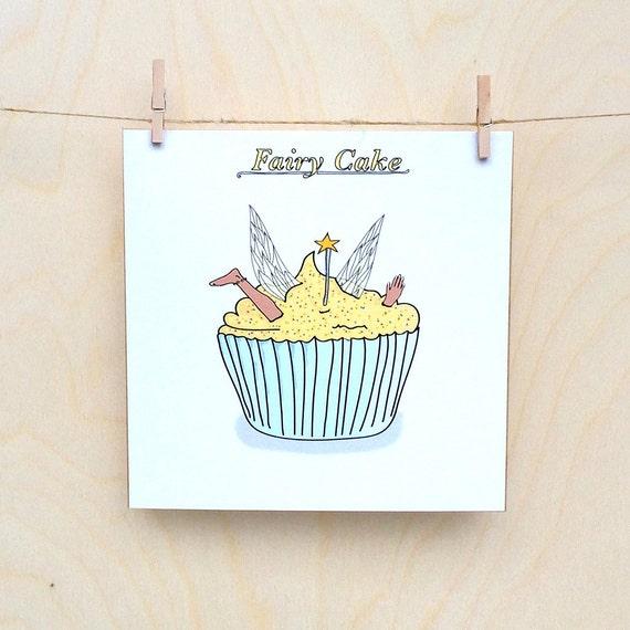 Funny fairy cake Card, Funny card, funny greetings card, funny Celebration card, funny birthday card.